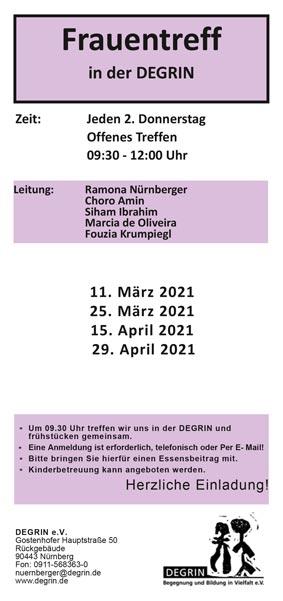 Programm offener Frauentreff – März bis April 2021